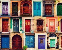 Kartonpapír - Régi, színes ajtók minta, Karton 1 lap