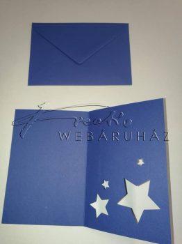 Meghívó készlet - Csillagos, sötétkék paszpartu borítékkal