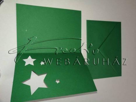 Meghívó készlet - Csillagos, zöld paszpartu borítékkal