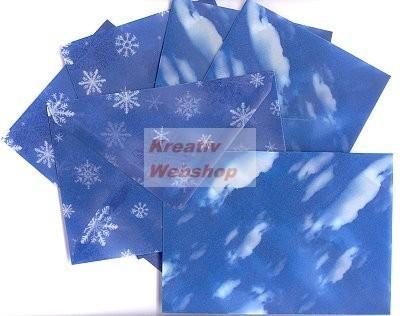 Boríték - Transzparens boríték - Felhő és hópehely, kék - 6 db-os készlet