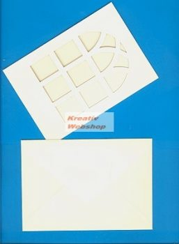 Meghívó készlet - Ablakos, kék színű paszpartu borítékkal 5db