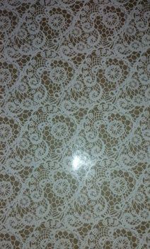 Karton papír - Natúr, fehér csipke minta