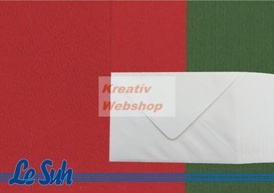 Meghívó készlet - Fehér Boríték és Piros - Zöld  Meghívó, A5 méretben, 50 darab