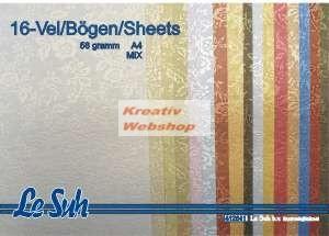 Domborított papír - Apró Rózsák, 16 színű csomag! 120gr., A4
