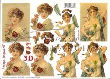 Szecessziós Nő Virággal, Galambbal, Fázisos 3D
