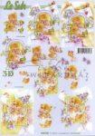 Mackó virágcsokorral, Fázisos 3D