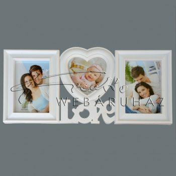 Kollázs képkeret 3 fotóhoz Love felirattal, fehér műanyag