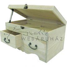 Dekorálható fa komód 2 fiókkal és felnyitható tetővel