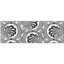 Kartonpapír - Fekete - Fehér Virágmintás karton