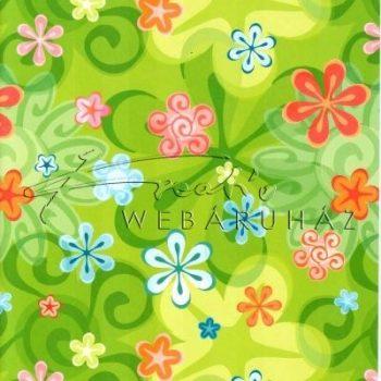 Kartonpapír - Zöld színű Retro virág, Karton