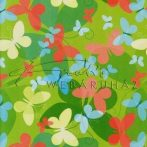 Transzparens papír - Zöld színű, retro pillangó