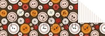 Kartonpapír - Télidő mozaik, Barna gomb mintás karton 1 lap