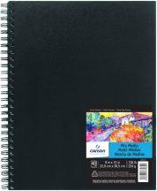 """CANSON ArtBooks: """"MIX MEDIA"""", rajz és akvarelltömb, finom szemcsés C á Grain papír, spirálkötött, fekete borító 224g/m2 40 ív 22,9 x 30,5"""
