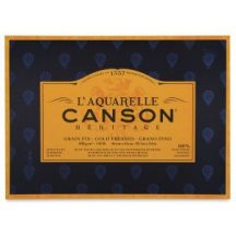 CANSON Héritage merített, savmentes akvarellpapír-tömb 100 % gyapotból, (4 oldalt ragasztott)  20 ív, finom 23 x 31 cm