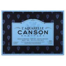 CANSON Héritage  merített, savmentes akvarellpapír-tömb 100 % gyapotból, (1 oldalt ragasztott)  12 ív, érdes 23 x 31 cm
