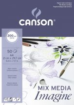 """CANSON """"Imagine"""" savmentes, természetes fehér, síma rajzpapír-tömb, rövid old. ragasztott, minden technikához 200g/m2 50 ív A4"""