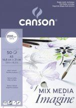 """CANSON """"Imagine"""" savmentes, természetes fehér, síma rajzpapír-tömb, rövid old. ragasztott, minden technikához 200g/m2 50 ív A5"""