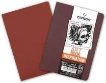 """CANSON ArtBooks: """"INSPIRATION"""", vázlatfüzet, finom szemcsés papír, a borítóra rajzolni, vagy festeni is lehet 96g/m2 24 ív, 2 db/szín A6 borító: bordó/tégla"""