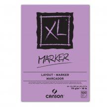 """CANSON  """"XL""""  MARKER, marker-tömb, fehér, impregnált papír, alk. filctoll használatához, röv. old. spirálkötött, mikroperforált 70g/m2 100 ív A4"""