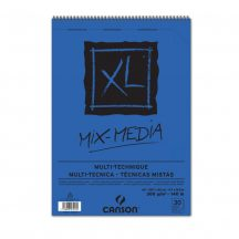 """CANSON  """"XL"""" MIX-MEDIA természetes fehér enyhén szemcsés rajzpapír-tömb, rajz és akv. pap. röv. old. spirálkötött, mikroperforált 300g/m2 30 ív A3"""