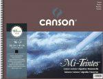 Mi-Teintes CANSON, savmentes színes pasztellkarton-tömb, (rövid oldalán spirálozott, selyempapír elválasztólap) 160g/m2 16 ív fekete 32 x 41
