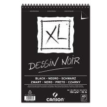 """CANSON """"XL"""" DESSIN NOIR, fekete fotókarton-tömb, rövid oldalán spirálkötött, mikroperforált 150g/m2 40 ív A4"""