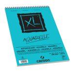 """CANSON  """"XL""""  AQUARELLE, savmentes naturfehér, akvarellpapír-tömb, rövid oldalán spirálkötött, mikroperforált 300g/m2 30 ív A3"""