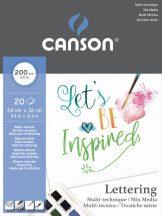 "CANSON ""Lettering"" extrafehér, síma rajzpapír, tömb rövid old. rag. (tus, tinta, filctoll, ceruza, stb..) 200g/m2 20 ív 24 x 32"