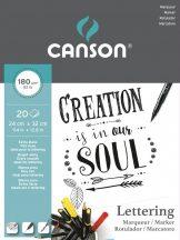 "CANSON ""Lettering"" extrafehér, síma rajzpapír, tömb rövid old. rag. (tus, tinta, filctoll, ceruza, stb..) 180g/m2 20 ív 24 x 32"