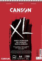 """CANSON  """"XL""""  Olaj-Akril-tömb, vászonprégelt felület, röv. old. spirálkötött, mikroperforált 290g/m2 30 ív A4"""