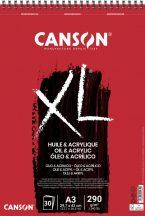"""CANSON  """"XL""""  Olaj-Akril-tömb, vászonprégelt felület, röv. old. spirálkötött, mikroperforált 290g/m2 30 ív A3"""
