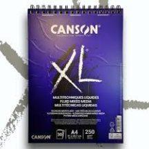 """CANSON  """"XL""""  Fluid Mix Media-tömb, folyékony médiumokhoz, röv. old. spirálkötött, mikroperforált 250g/m2 40 ív A3"""