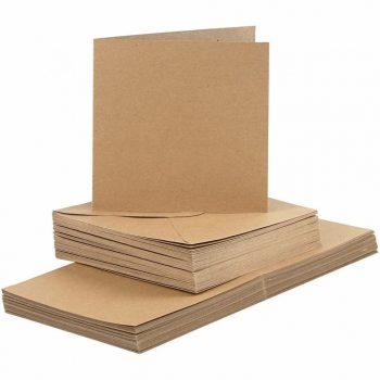 Meghívó készlet - Real Natural boríték 16x16 cm és meghívó 15x30 cm, 50 darabos gazdaságos készlet