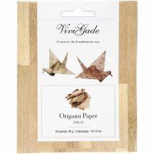 Origami papír - Oslo, barna minták, mindkét oldalán ugyanaza minta, fapadló minták