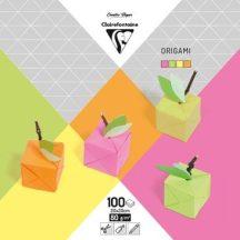 Origami papír - 100 lapos hajtogató készlet 20x20 cm - Neon színek