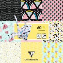 Origami papír - Design papíros hajtogató készlet, 15x15cm, 60 lap - Geometrikus gyümölcs minták