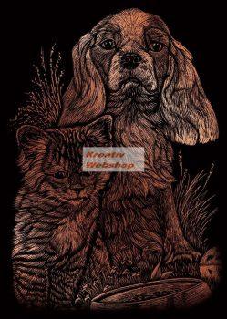 Képkarcoló készlet karctűvel - 13x18 cm - Réz - Kutya és cica