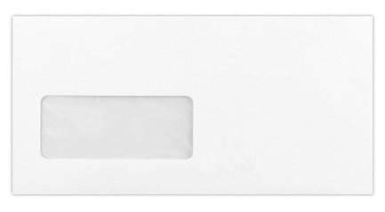 Prémium boríték - Natúr fehér, vászonprégelt, ablakos DL boríték, 22x11cm, 120gr