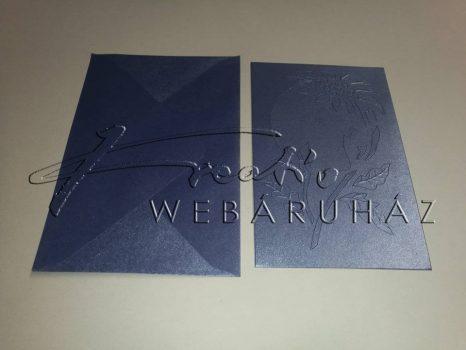Karácsonyi üdvözlőlapok és boríték - Gyöngyházfényű, zafír színű 12x17,1 cm - 10 db
