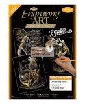 Kreatív hobby - Képkarcoló készlet 3 az 1-ben - Arany - Vadállatok