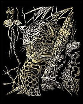 Képkarcoló készlet karctűvel - 20x25 cm - Arany - Leopárd a fán