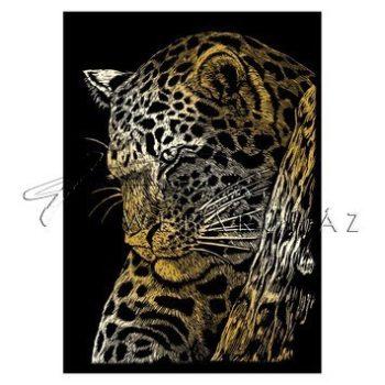 Képkarcoló készlet karctűvel - 13x18 cm - Arany - Leopárd