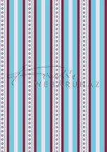 Retro kék piros csíkos Karton