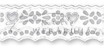 Papírcsipke - Virágszirom és szívecske mintás papírcsipke csík, széles