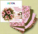 Origami papír - Rózsaszín-zöld virág hajtogató készlet 15x15 cm