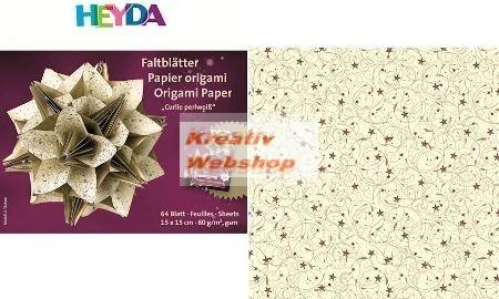 Origami papír - Curlie Cream Krém - arany hajtogató készlet 15x15 cm