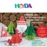 Origami papír - Karácsonyi hajtogató készlet - Fenyőfa és Mikulás, 10x10 cm