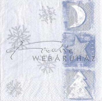 Fenyőfa, csillag és hold Szalvéta ezüst színű mintával