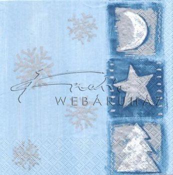 Fenyőfa, csillag és hold Szalvéta kék színű mintával