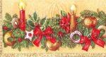 Piros és arany gyertya fenyőággal Szalvéta dupla méretű képpel